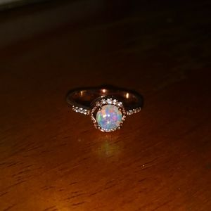 Jewelry - NEW! Mesmerizing White Fire Opal Rose Gold Ring